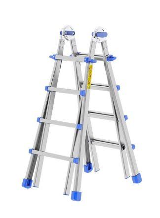 Scala in alluminio telescopica  8+8 gradini trasformabile sfilabile Svelt Topika