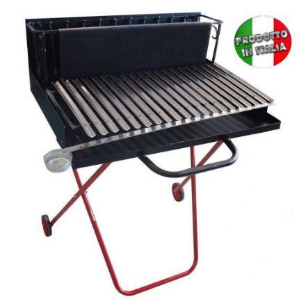 Barbecue a legna con griglia inox cm 50 dotata di raccogli sugo - pieghevole e portatile  bbq