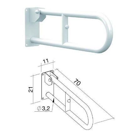 barra ribaltabile da muro bianco-70x10x21cm