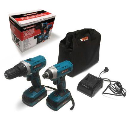 kit trapano avvitatore + avvitatore impulsi, 18v, 2 batterie da 2amp + borsa in tessuto