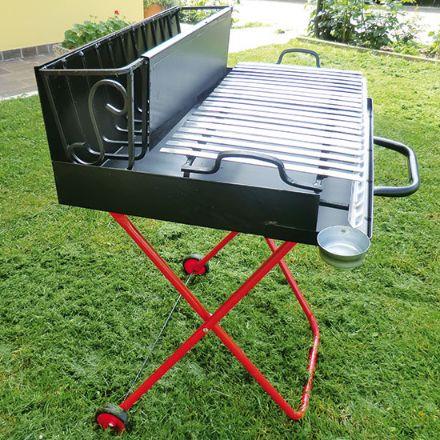 Barbecue a legna pieghevole con ruote graticola in acciaio cm 70