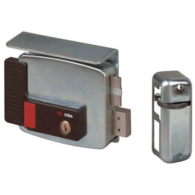 Elettroserratura Cisa  con pulsante e fermo a giorno da applicare a cilindro mm 60 destra