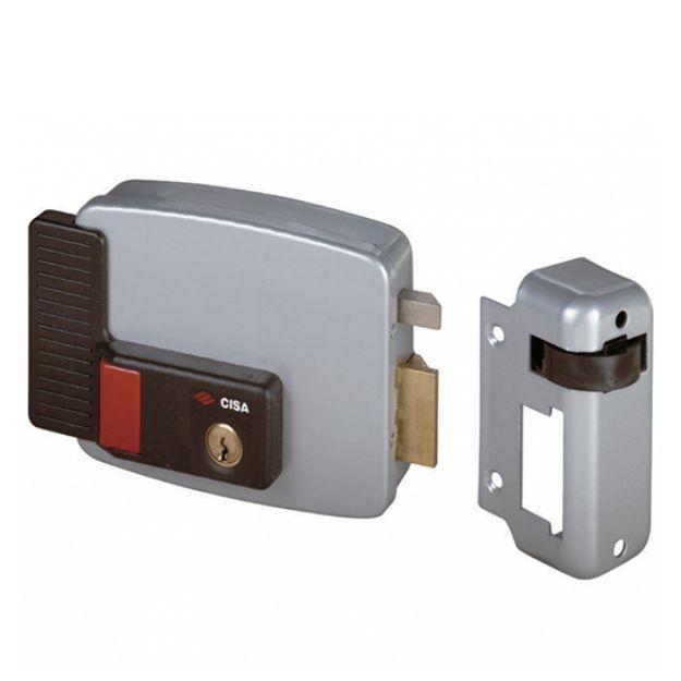 Elettroserratura Cisa pulsante e cilindro interno da applicare a cilindro mm 50 destra