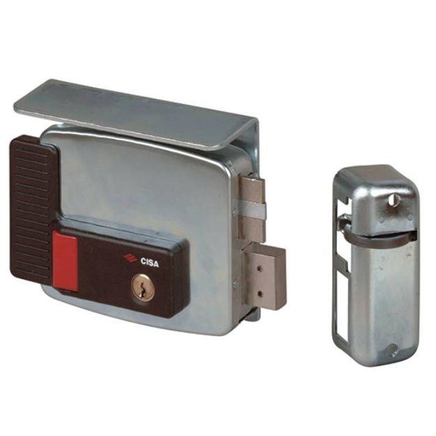 Elettroserratura con pulsante  Cisa  da applicare a cilindro mm 70  destra