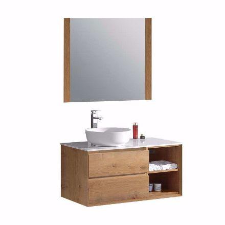 Immagine di Mobile sospeso per bagno Camilla in legno MDF 99x51x48cm + specchio