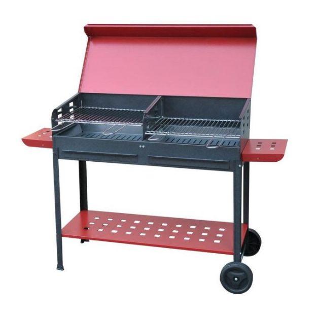 Immagine di Barbecue Vanessa Con Ruote Doppia Grigl 100 x 40 x h 90cm